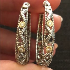 Judith Ripka Silver and Gold Hoop Earrings